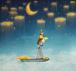 Man on a ladder reaching for  stars