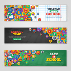 Back To School Banner Set With Flat Icons on Circles.