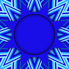 Blue star text or photo template on decorative background of blue shades stripes