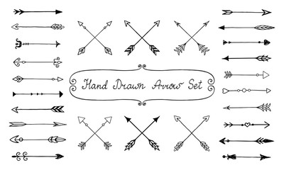 Vintage hand drawn arrow set. Vector illustration.
