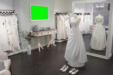 interior bridal store, mirror, mannequin and shoes, wide