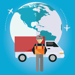 E-commerce delivery . Shopping online all over the globe