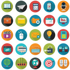 Modern flat icons vector collection with long shadow effect in stylish colors of web design objects, business, office and marketing items.