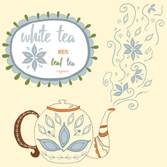 Hand drawn teapot with white tea. Perfect steam with doodle tea leaves and flowers.