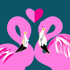 pink flamingos in love