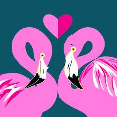 pink flamingos in love