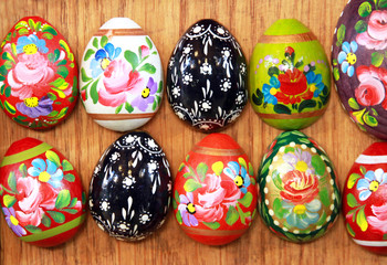 Easter eggs as a colorful background. Hand painted beautiful and