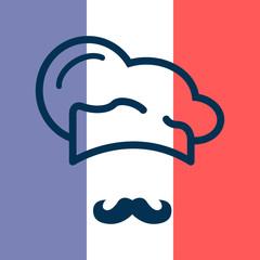 Icono plano gorro de cocinero y bigote sobre bandera de Francia #1