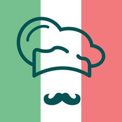 Icono plano gorro de cocinero y bigote sobre bandera de Italia #1