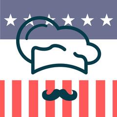 Icono plano gorro de cocinero y bigote sobre bandera de USA #1