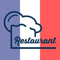 Icono plano gorro de cocinero y restaurant sobre bandera de Francia #1