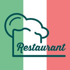 Icono plano gorro de cocinero y restaurant sobre bandera de Italia #1