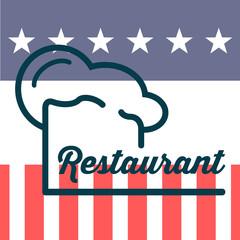 Icono plano gorro de cocinero y restaurant sobre bandera de USA #1