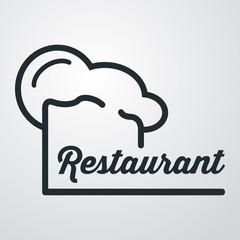 Icono plano gorro de cocinero y restaurant sobre fondo degradado #1