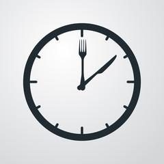 Icono plano hora de comer sobre fondo degradado #1