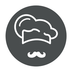 Icono plano redondo gorro de cocinero y bigote gris #1