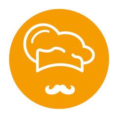 Icono plano redondo gorro de cocinero y bigote naranja #1
