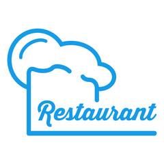 Icono plano redondo gorro de cocinero y restaurant azul #1