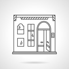 Pub facade flat line design vector icon