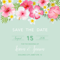 Wedding Invitation Card - with Floral Tropical Background - Save the Date