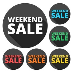 Weekend Sale icons set with long shadow