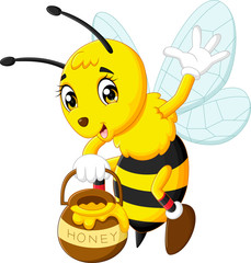 cartoon cute bee handling honey pot isolated white background.