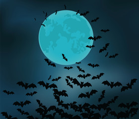 Halloween background with night moon, sky and bats. Vector