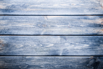 Blue wooden desk background.