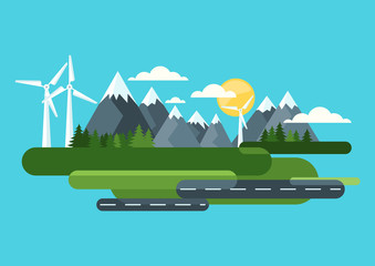 Poster Turkoois Ecology and environmental concept. Green landscape, mountains and wind turbine, alternative energy generators. Vector flat style illustration. Summer travel and outdoors background.
