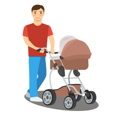Photo sur Toile Motocyclette Young father with a baby stroller