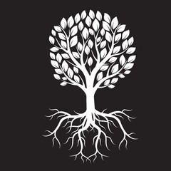 White tree and Roots. Vector Illustration.