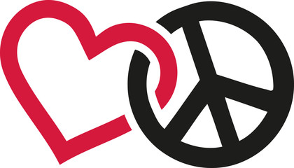 Love and peace signs intertwined Wall mural