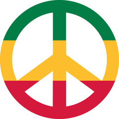 Peace sign in green yellow red