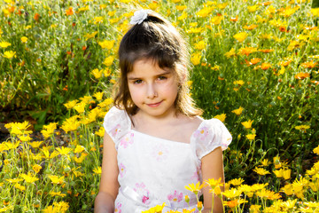 Confident Girl With Allergy Eyes in Flowers