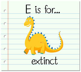Flashcard letter E is for extinct