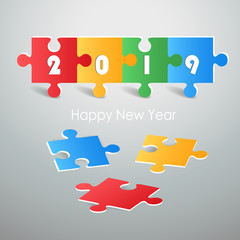 Design colorful puzzle, Happy new year 2019 greeting card