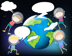 Children floating in the space around the earth