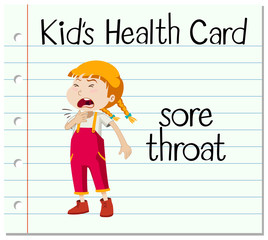 Health card with girl having sorethroat