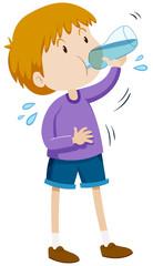 Boy drinking water from bottle