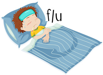 Boy in bed having flue