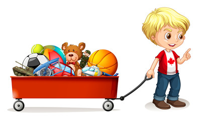 Boy pulling cart full of toys