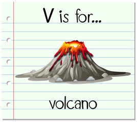 Flashcard letter V is for volcano