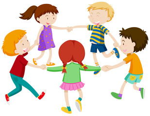 Boys and girls holding hands in circle