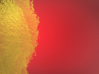 gold paint on red background