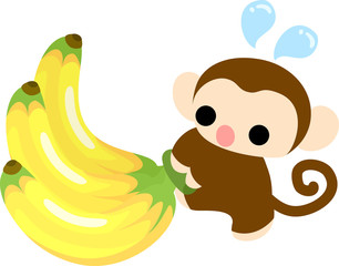 A pretty monkey carrying a big banana