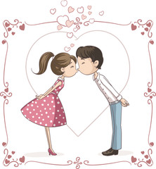 Couple Kissing Vector Cartoon - Vector illustration of a man and woman in love and kissing