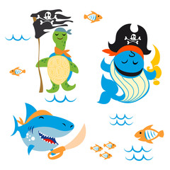 Set of cute Animals pirate design