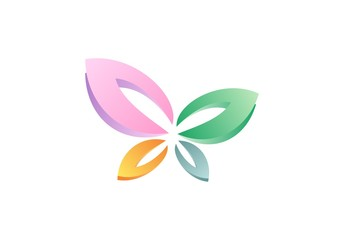 butterfly logo, beauty butterfly leaves symbol icon vector design