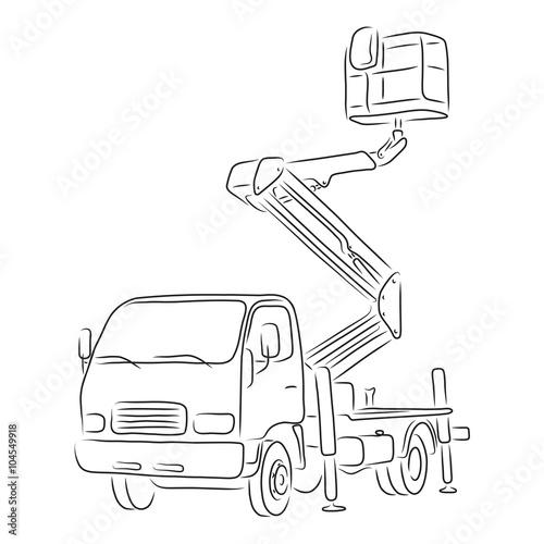 u0026quot outline of bucket truck  vector illustration u0026quot  stock image