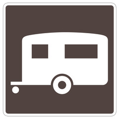 road sign - brown, white trailer, with path